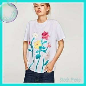 Zara Flower Applique Classic Crew Neck T-Shirt